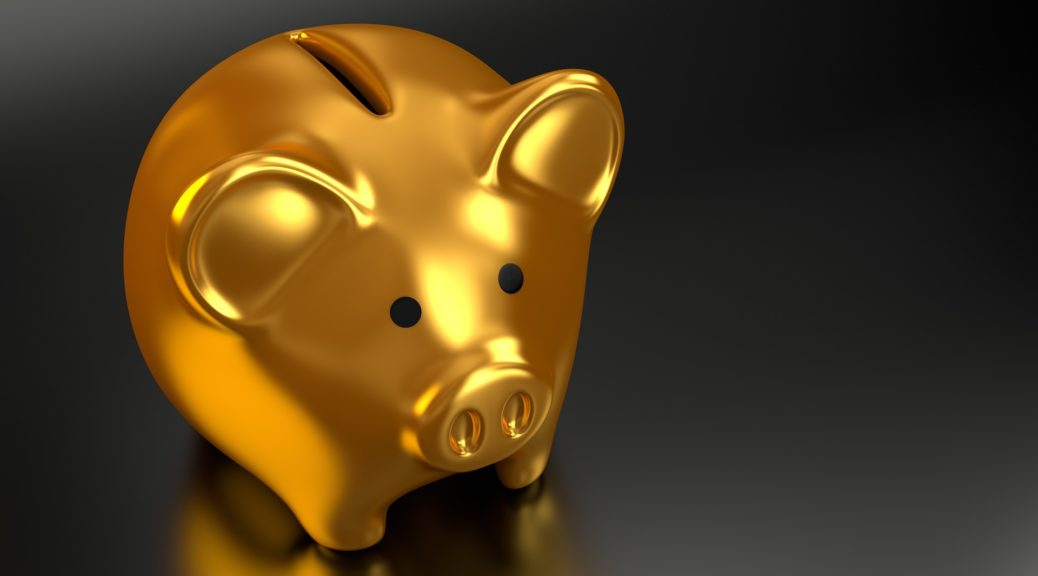 A gold piggy bank